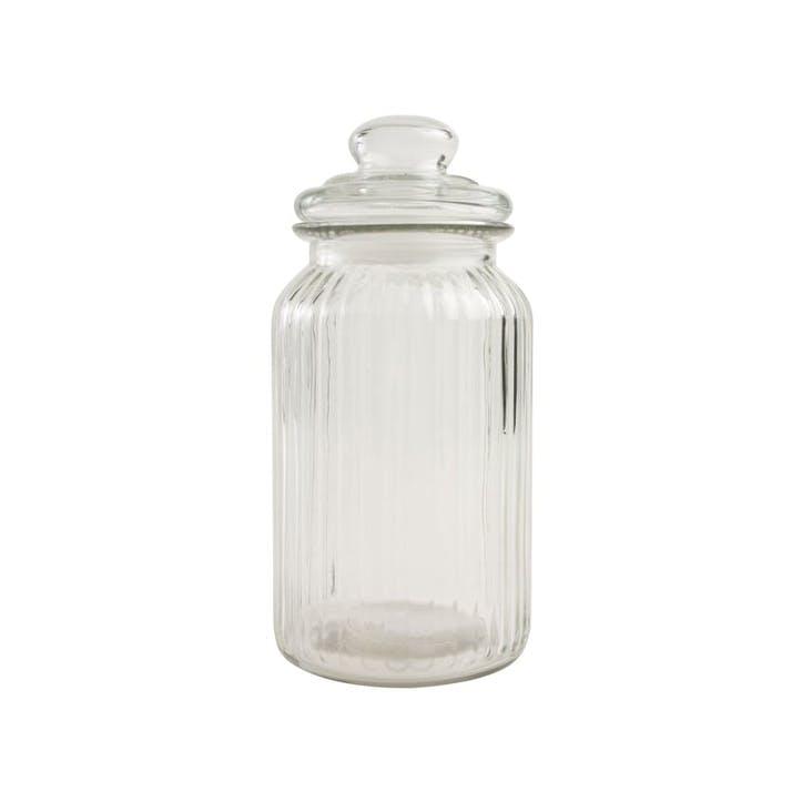 Ribbed Glass Jar, Large