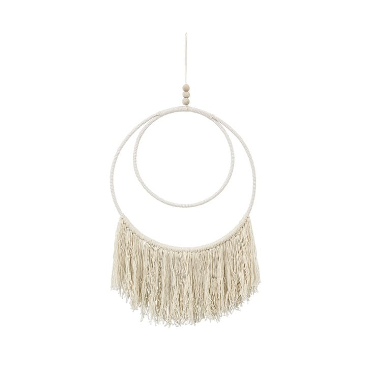 Circular Tassel Wall Hanging, Off White