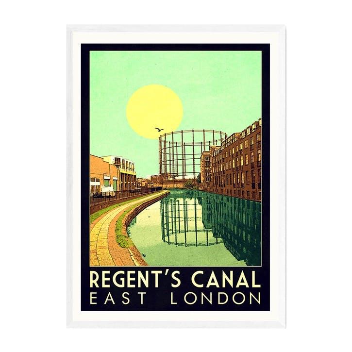 Indie Prints, Regent's Canal, Framed Art Print, H61 x W44 x D2cm, White