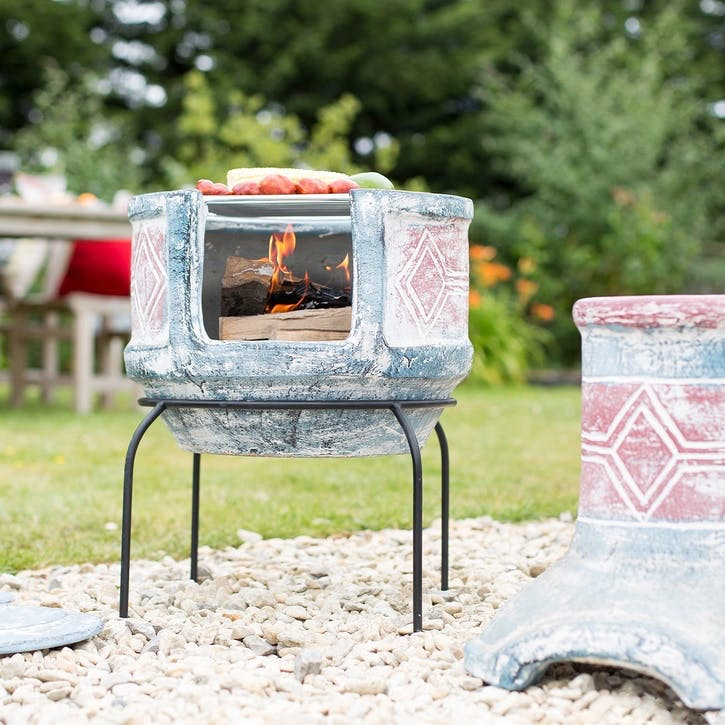 Geometric Clay Chimenea, Medium, Sea Blue & Red