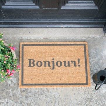 Bonjour with Border Doormat, Grey
