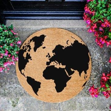 Globe Circle Doormat, Black