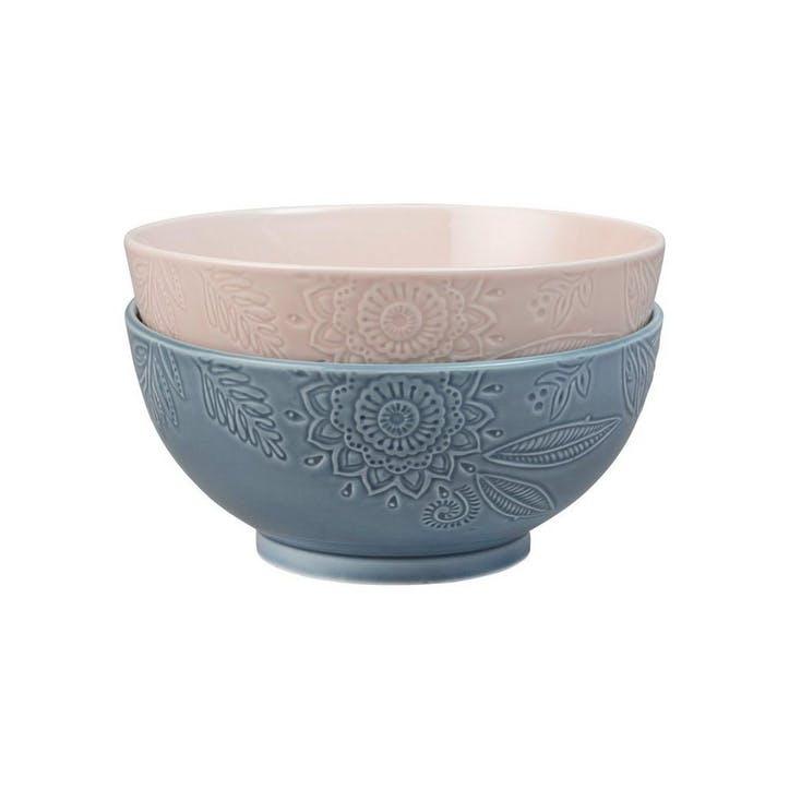 Gather Large Serving Bowls, Set of 2, Blue/ Pink
