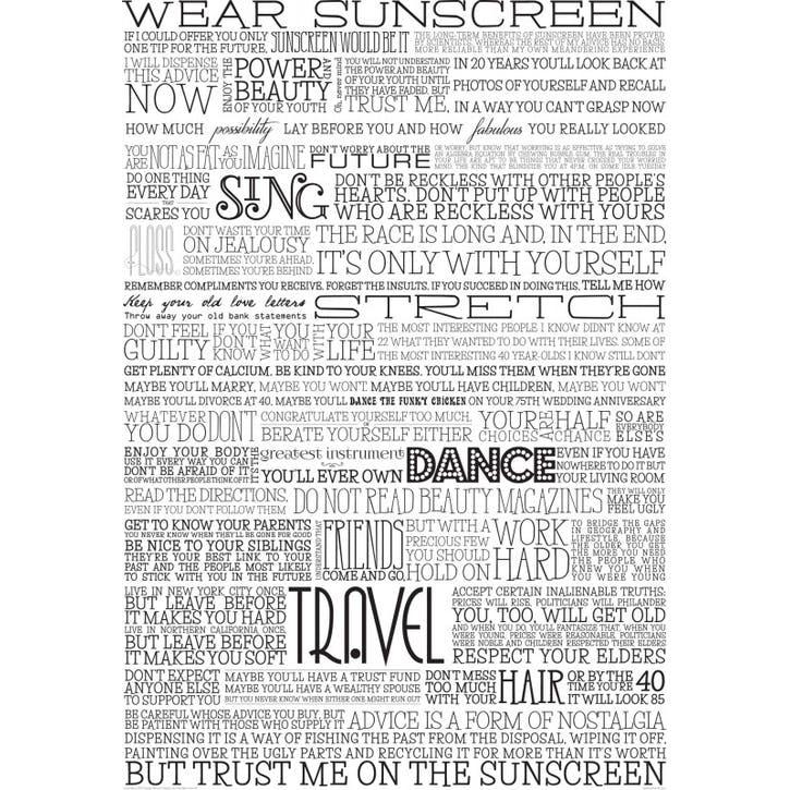 Sunscreen Print, Black & White