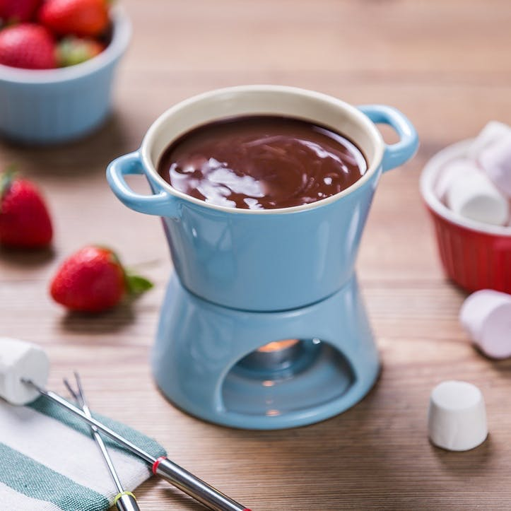 Blue Ceramic Fondue with stainless steel forks