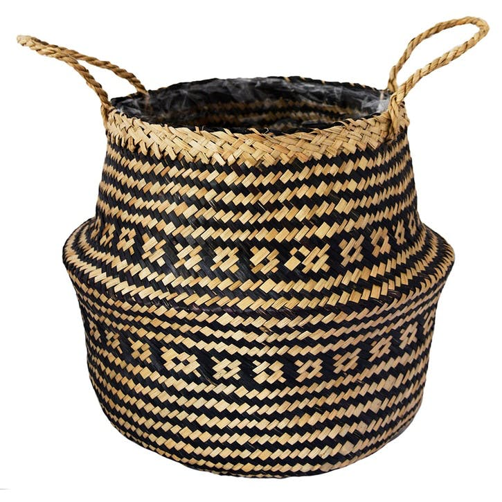 Seagrass Tribal, Lined Basket Small, Black