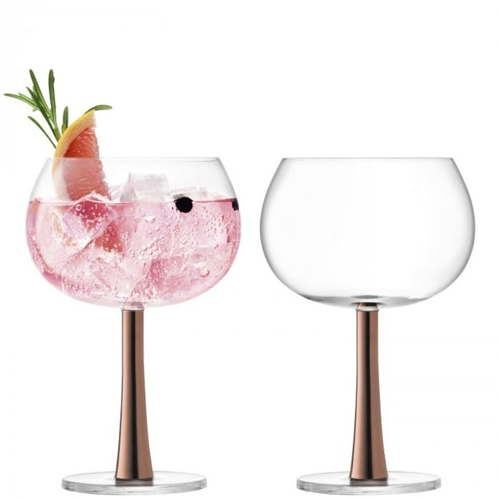 Gin Balloon Glass Set of 2; Copper