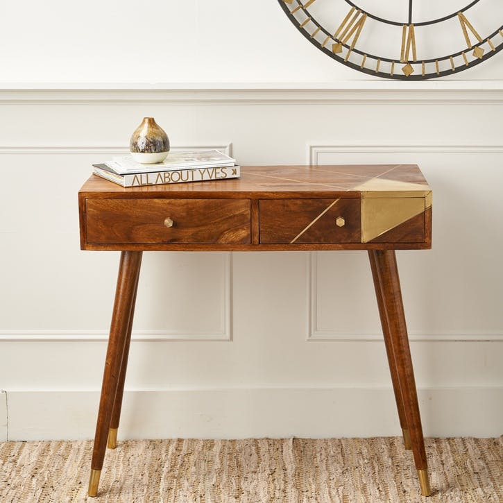 Geometric Brass & Chestnut Desk/Console