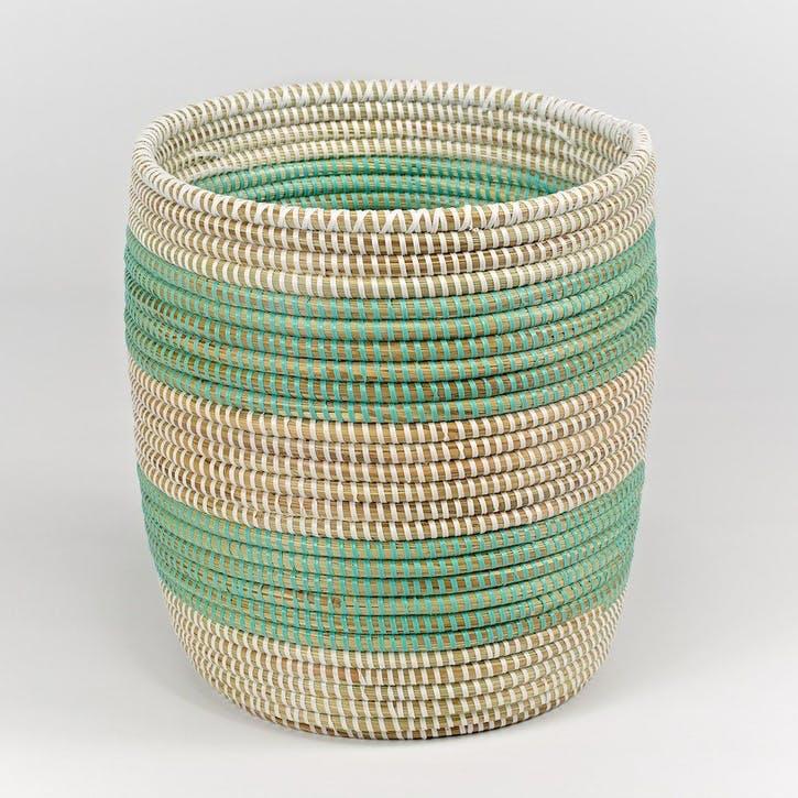 Handwoven Wastepaper Basket, Natural/ Mint Stripes