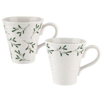 Mistletoe Mugs, 12oz, Set of 2