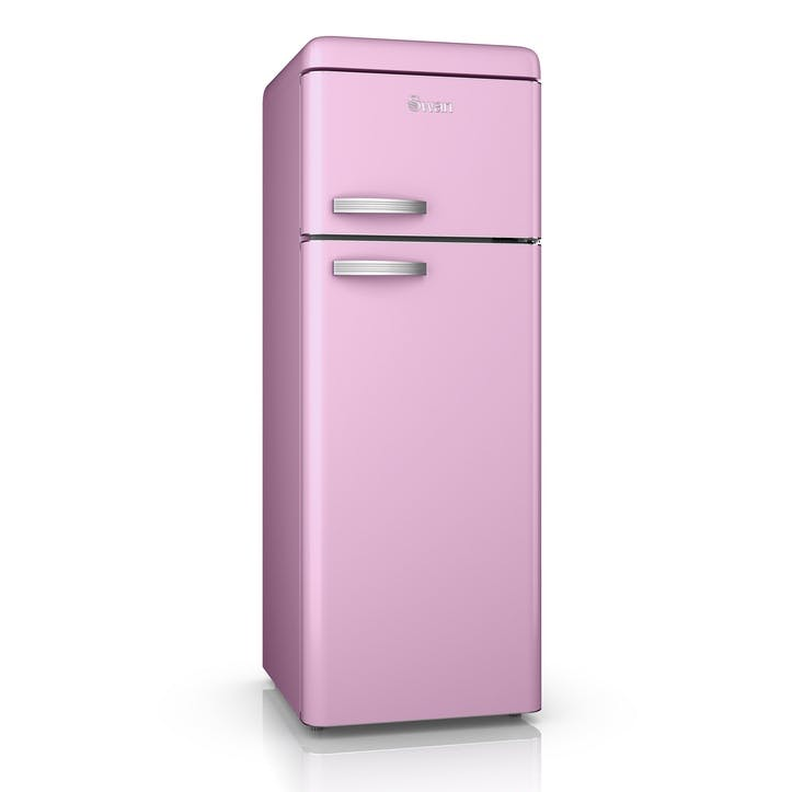 Retro Top-Mounted Fridge Freezer, Pink