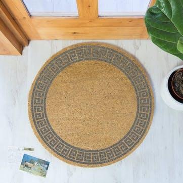Greek Border Circle Doormat, Grey