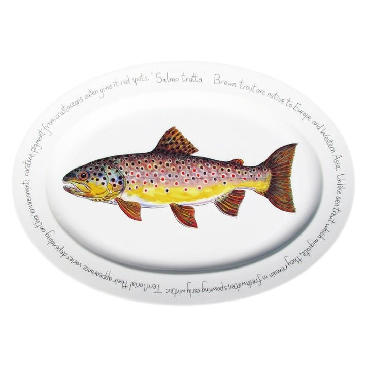 Brown Trout Oval Plate - 39cm