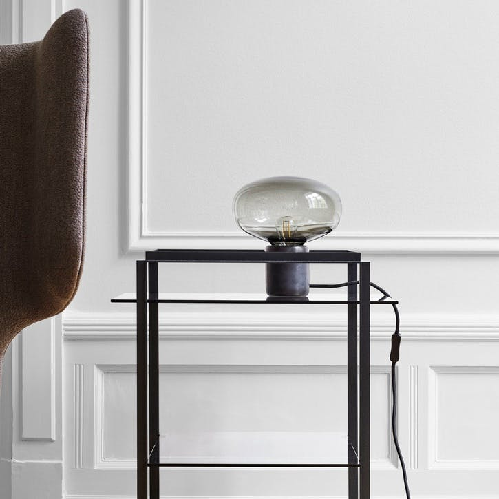 Karl-Johan, Table Lamp, D23cm, Smoke Glass