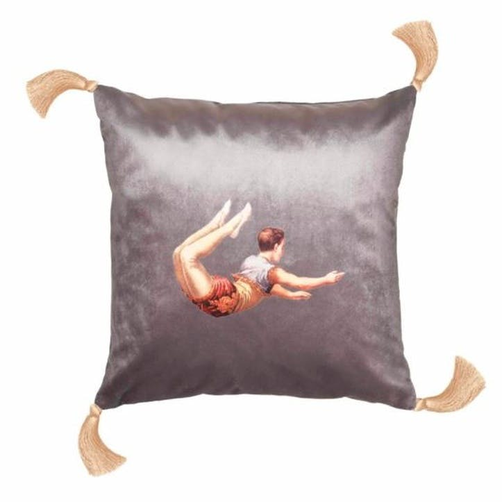 Trapeze Boy Velvet Cushion, Shark Grey