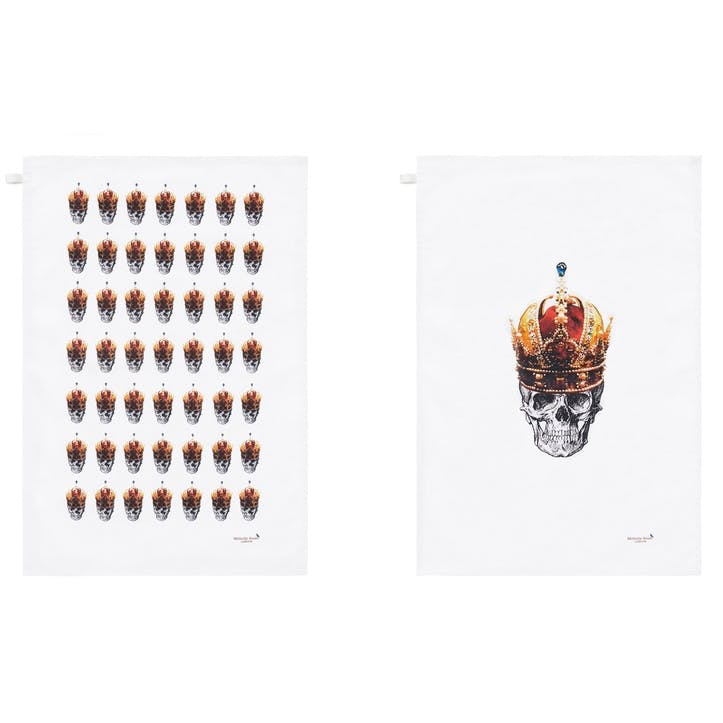 Rock and Roll Skull in Red Crown Tea Towels, Set of 2
