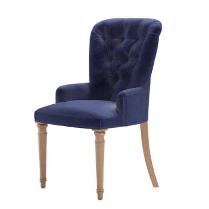 Sinclair, Dining Chair, Prussian Blue Cotton Matt Velvet