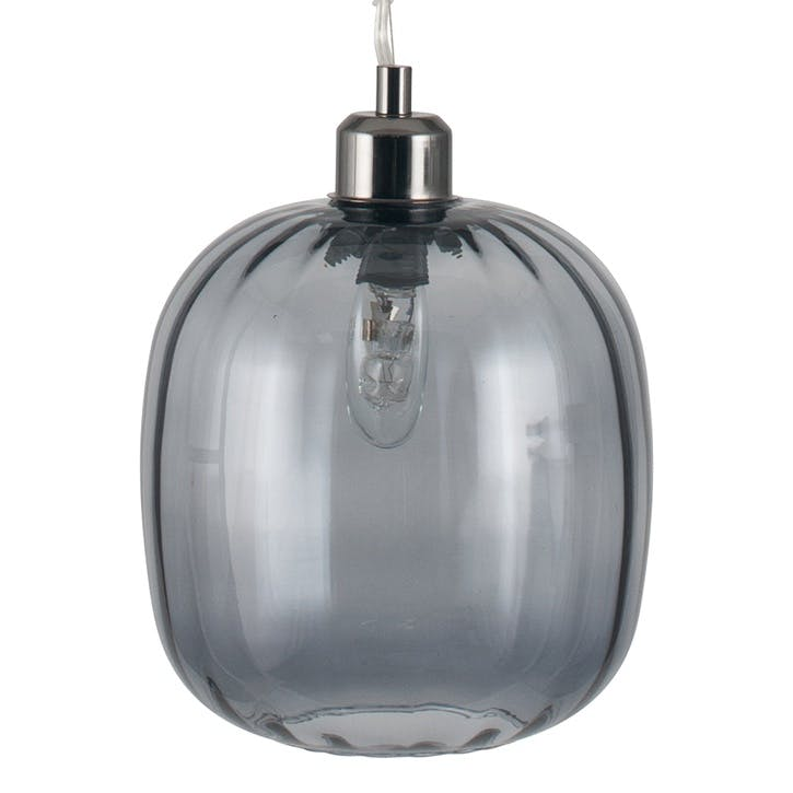 Brizio Oval Glass Pendant; Grey