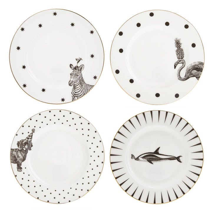 Monochrome Animal Side Plates, Mixed Set of 4