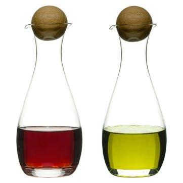 Oil/Vinegar Bottles With Oak Stoppers, Set of 2