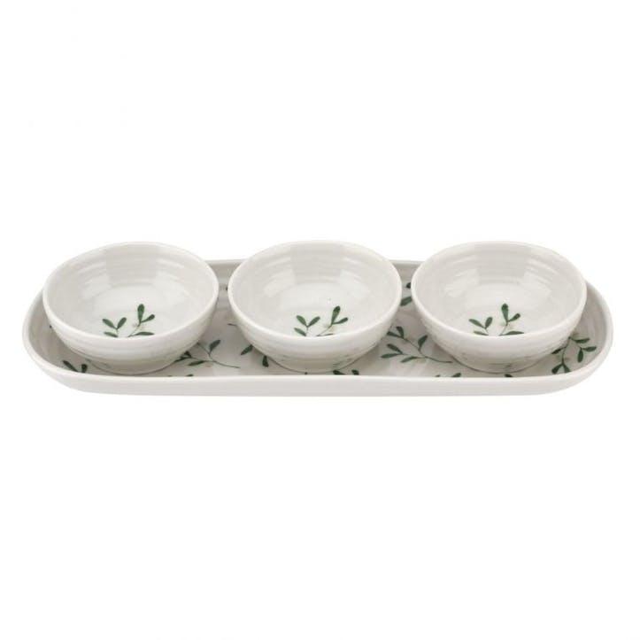 Mistletoe 3 Bowl and Tray Set
