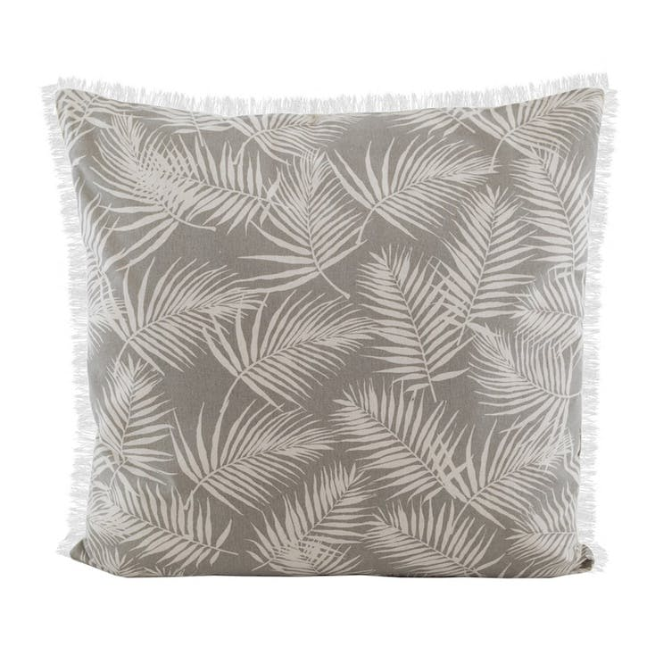 Palm Fringe Cushion, Taupe
