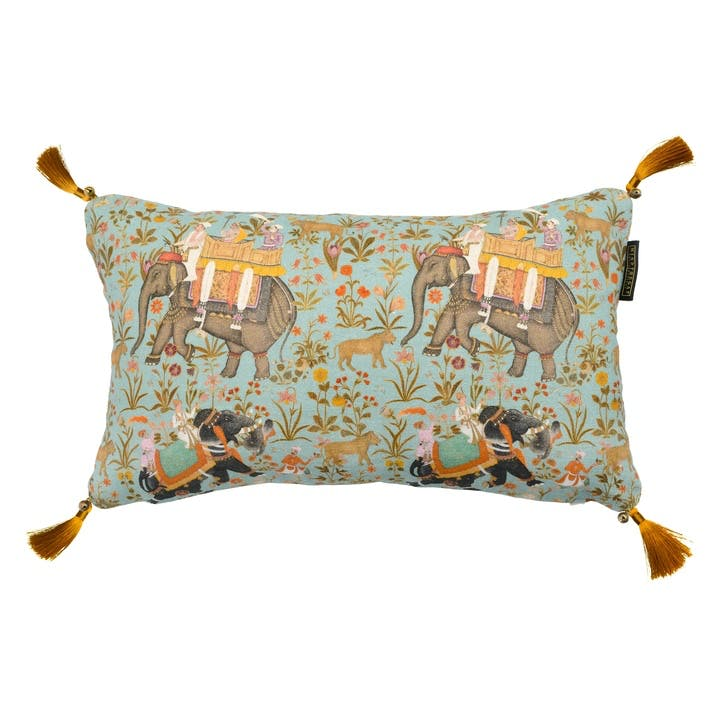 Hindustan Cushion, 50 x 30cm, Aquamarine