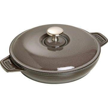 Cast Iron Round Covered Baking Dish, Graphite Grey