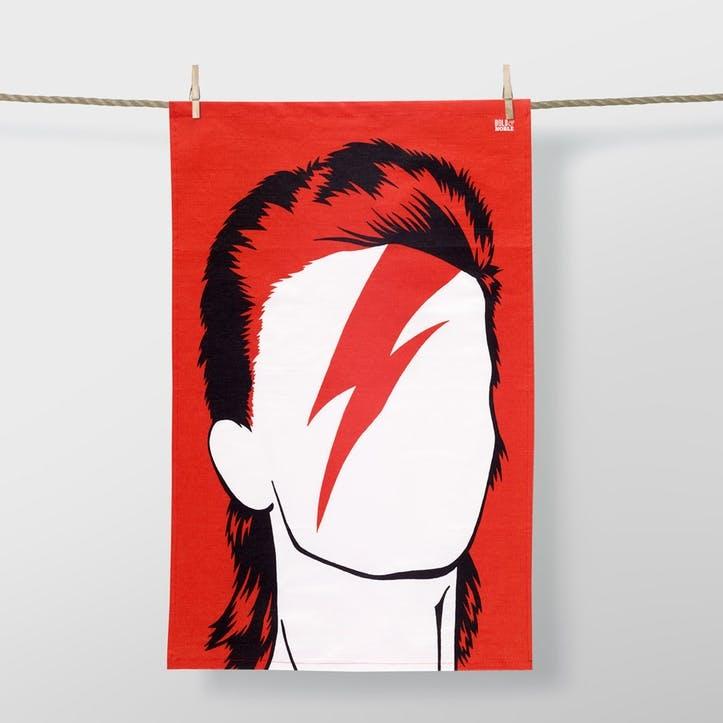 Icon Bowie Tea Towel, 47cm x 74cm, Red