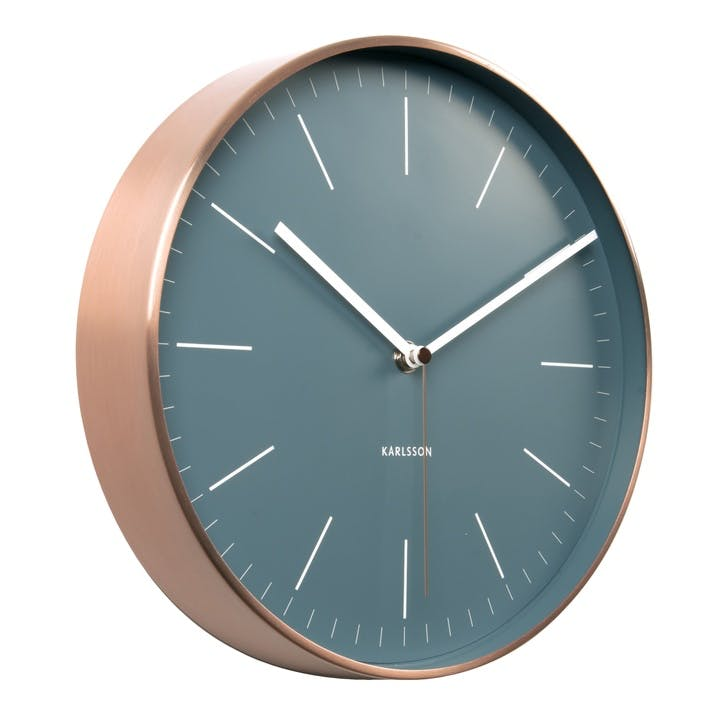 Minimal Wall Clock, Blue/Copper