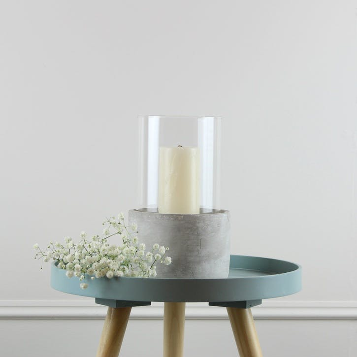 Round Glass and Cement Hurricane - Small