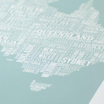 Type Map Screen Print Australia, 50cm x 70cm, Duck Egg Blue