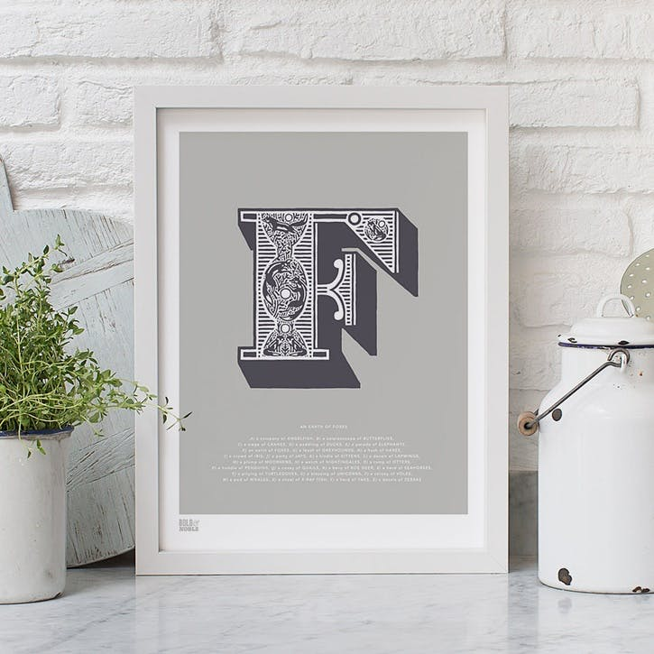 Illustrated Letter F Screen Print, 30cm x 40cm, Putty
