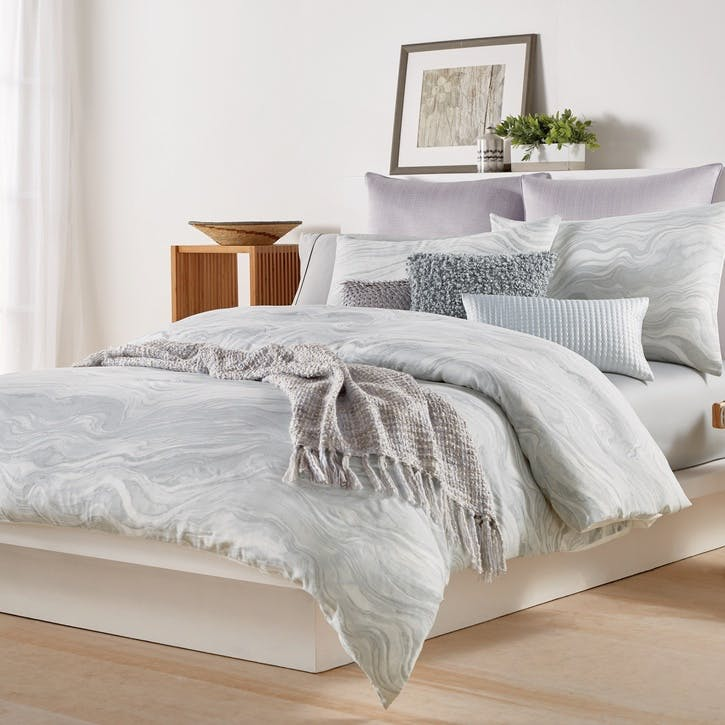 Marble Double Duvet Cover, Grey