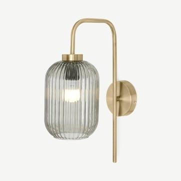 Briz wall lamp, H89 x W40 x D40cm, Brass & Smoke