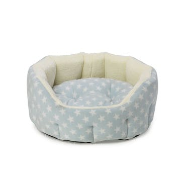 Star Print Oval Fleece Lined Snuggle Pet Bed, M, Baby Blue