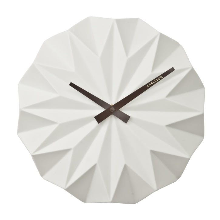 Origami Wall Clock, White