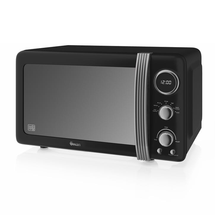 Retro 800W Digital Microwave, Black