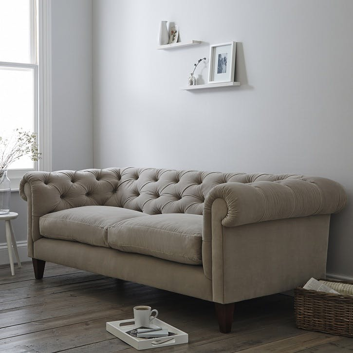 Hampstead Three Seat Sofa, Stone Velvet
