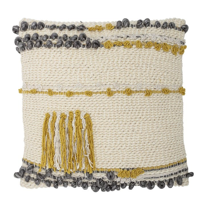Tassel Cushion, Mustard & Grey