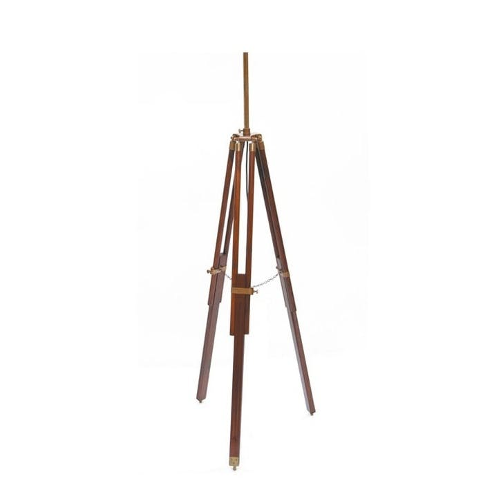Wooden Tripod Floor Lamp Base; Dark Walnut