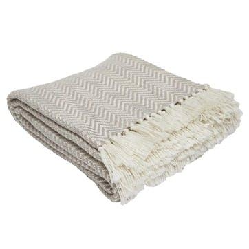 Herringbone Blanket, 2.3 x 1.3m, Chinchilla