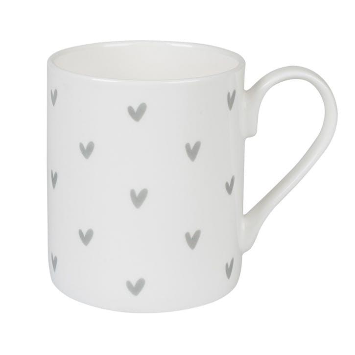 Grey 'Hearts' Mug - Large