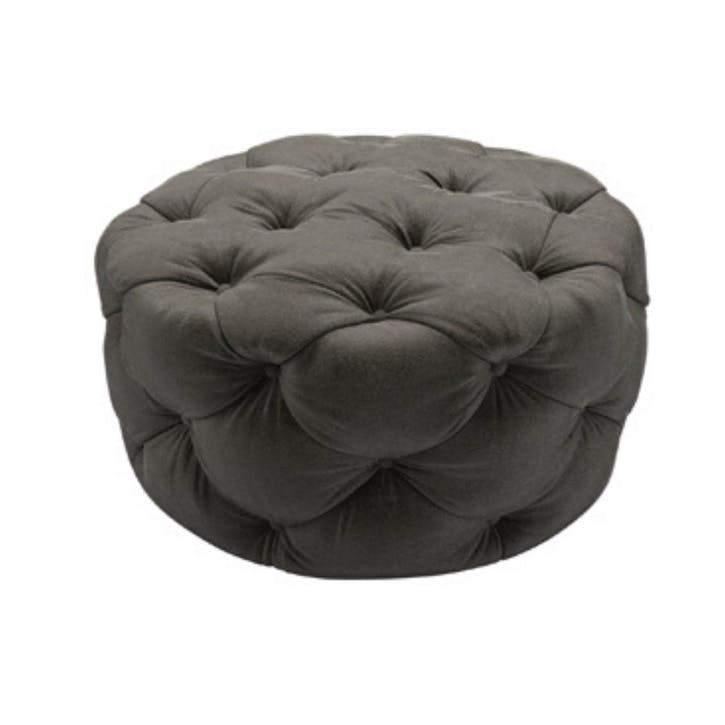 Georgette, Round Footstool, Elephant Cotton Matt Velvet