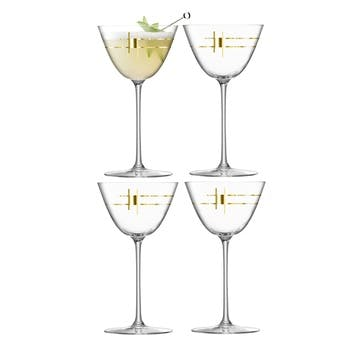Century, Martini Glass, Set of 4, 195ml, Gold