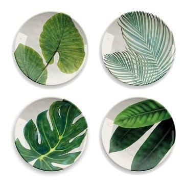 Amazon Floral Melamine Side Plates, Set of 4, 22cm
