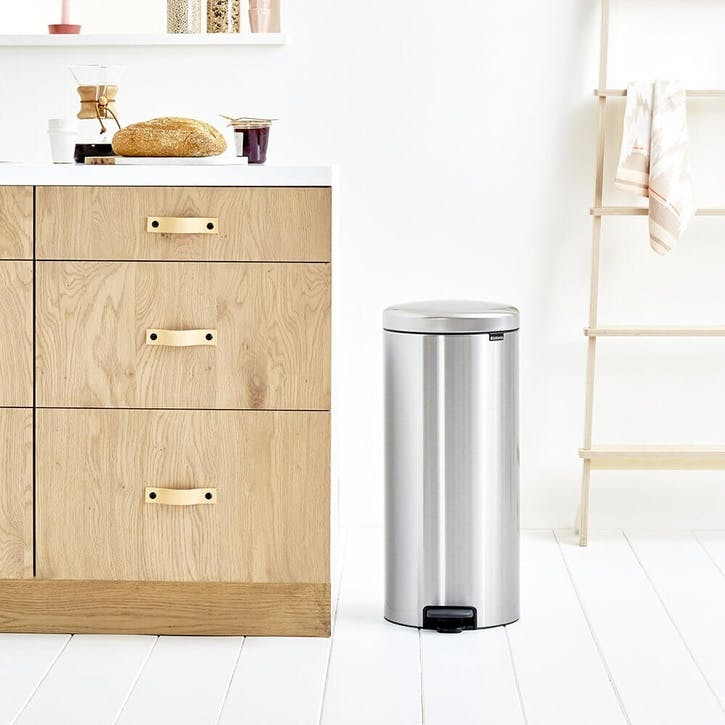 NewIcon Pedal Bin, 30L, Matt Steel Fingerprint Proof