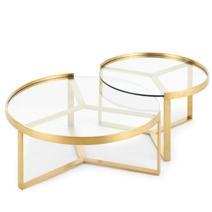 Aula Nesting Coffee Table; Brushed Brass and Glass