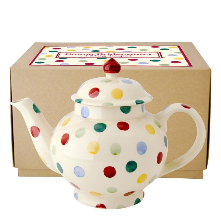 Polka Dot 4 Mug Teapot Boxed, 25.6cm