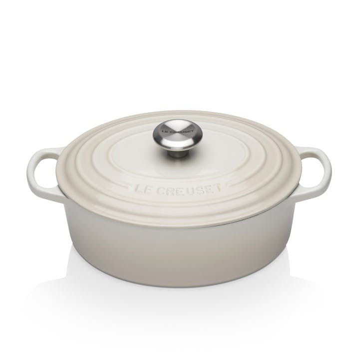 Signature Cast Iron Oval Casserole, 27cm, Meringue